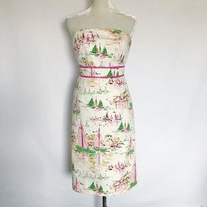 J Crew Strapless Sheath Dress Sailboat Pattern 4